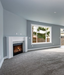 Modern and completely gray unfurnished interior of luxury town house.